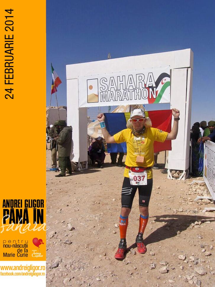 Andrei la finishul Sahara Marathon
